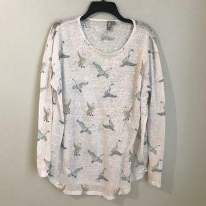 ASOS White Semi Sheer Blouse Swan Goose Print